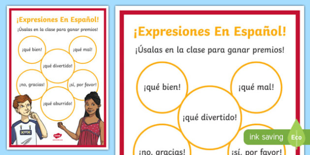 Basic Spanish Expressions Display Poster