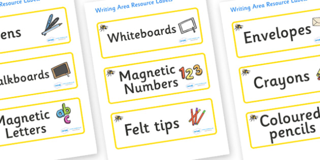 Bumble Bee Themed Editable Writing Area Resource Labels - Themed writing resource labels, literacy area labels, writing area resources, Label template, Resource Label, Name Labels, Editable Labels, Drawer Labels, KS1 Labels, Foundation Labels, Founda