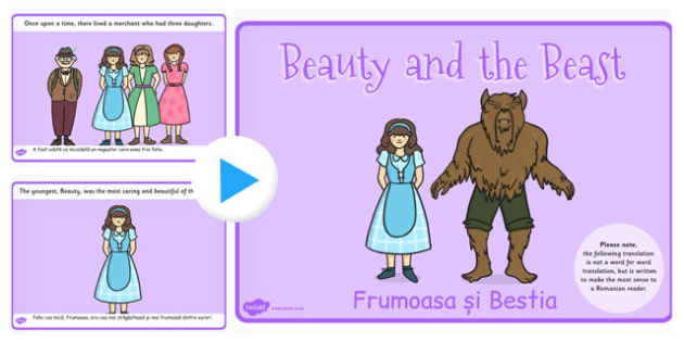 Beauty and the Beast Story PowerPoint Romanian Translation - eal