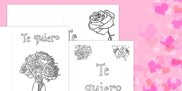 Valentine's Day Card Colouring Templates Spanish - spanish, Valentine's Day, Valentine, love, Saint Valentine, heart, kiss, colouring, fine motor skills, poster, worksheet, vines, A4, display, cupid, gift, roses, card, flowers, date, letter