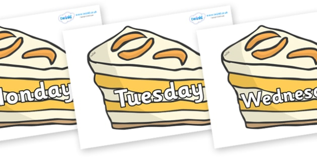 Days of the Week on Peach Desserts to Support Teaching on The Lighthouse Keeper's Lunch - Days of the Week, Weeks poster, week, display, poster, frieze, Days, Day, Monday, Tuesday, Wednesday, Thursday, Friday, Saturday, Sunday