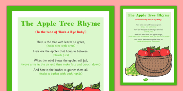 The Apple Tree Rhyme - rhyme, autumn, apple tree, apple, tree, eyfs, early years