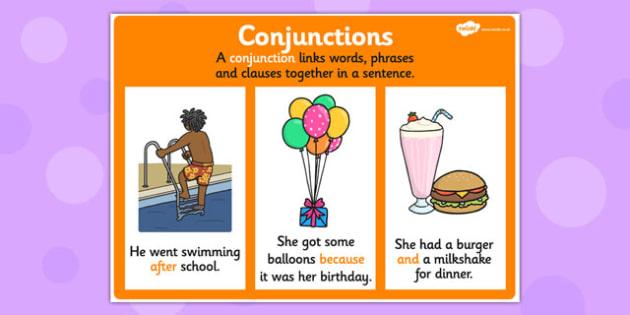 Conjunction Display Poster - conjunctions, grammar, literacy