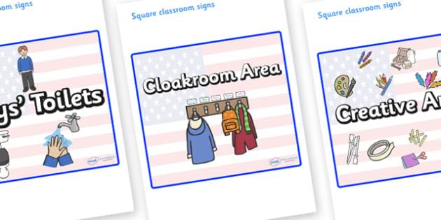 USA Themed Editable Square Classroom Area Signs (Plain) - Themed Classroom Area Signs, KS1, Banner, Foundation Stage Area Signs, Classroom labels, Area labels, Area Signs, Classroom Areas, Poster, Display, Areas