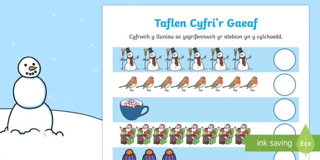 Cyfri'r Gaeaf Taflen Weithgaredd - Y Gaeaf (Winter), Gaeaf, Arddangosfeydd, Tymhorau, Cyfnod Sylfaen, mathemateg, cyfri,Welsh