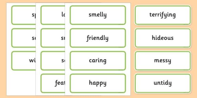 Describing Dinosaurs Word Cards - describe, describing, dinosaurs, word cards, word, cards