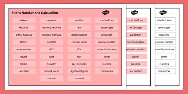 KS3 Maths Word Mat Number and Calculation - KS3, KS4, GCSE, Maths, keywords, vocabulary, revision, number, calculation