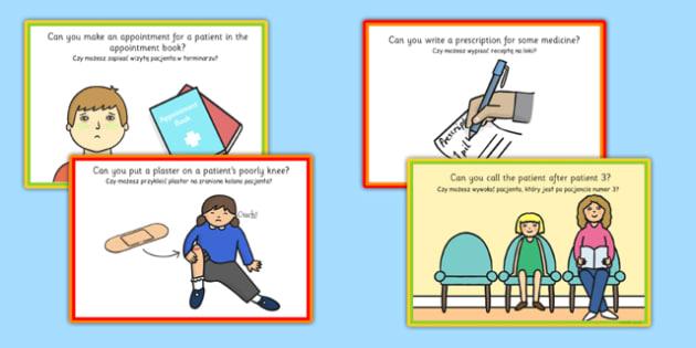 Challenge Cards Doctors Surgery Polish Translation - polish, challenge, cards, doctors, surgery