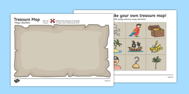 Treasure Map Activity Polish Translation - polish, Worksheets, Pirate, Pirates, Topic, cutting, fine motor skills, activity, pirate, pirates, treasure, ship, jolly roger, ship, island, ocean