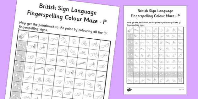 British Sign Language Fingerspelling Colour Maze P - colour, maze