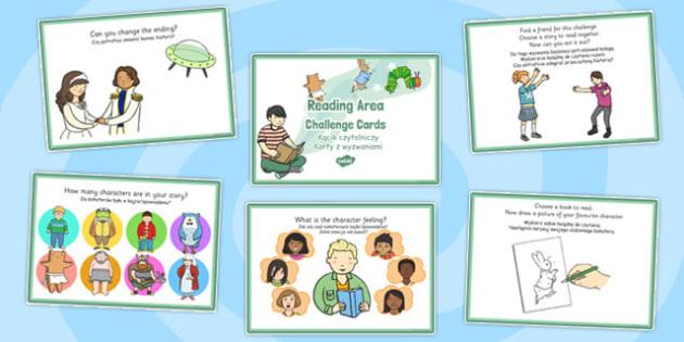Reading Area Challenge Cards Polish Translation - early years, KS1, key stage 1, independent, english