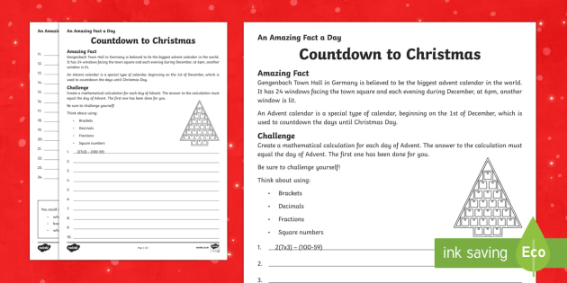 Countdown to Christmas Activity Sheet - Amazing Fact Of The Day, activity sheets, powerpoint, starter, morning activity, December, advent, c