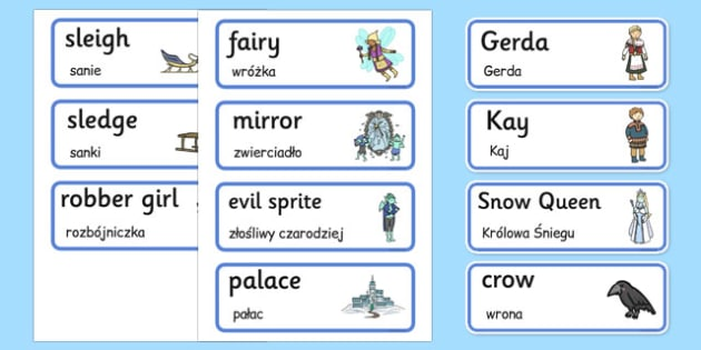 The Snow Queen Word Cards Polish Translation - polish, snow queen, word cards, story book