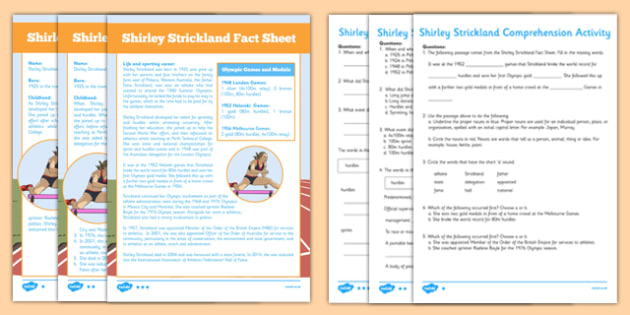 Shirley Strickland Australian Olympian Differentiated Comprehension Activity - australia, Australia, Olympic Games, Information, Fact Sheet, Reading Comprehension, Vocabulary, Phonics, Sequencing, Challenge