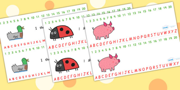 Combined Number and Alphabet Strips to Support Teaching on What the Ladybird Heard - what the ladybird heard, alphabet, number, alphabet strips, number strips, a-z, a-z strips