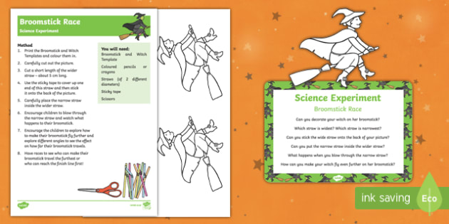 EYFS Broomstick Race Science Experiment and Prompt Card Pack