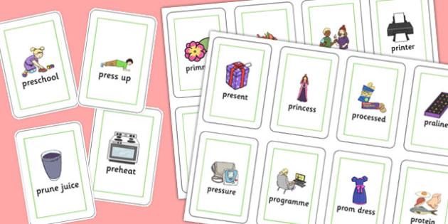 Two Syllable PR Playing Cards - sen, sound, pr sound, pr, sen, two syllable, playing cards