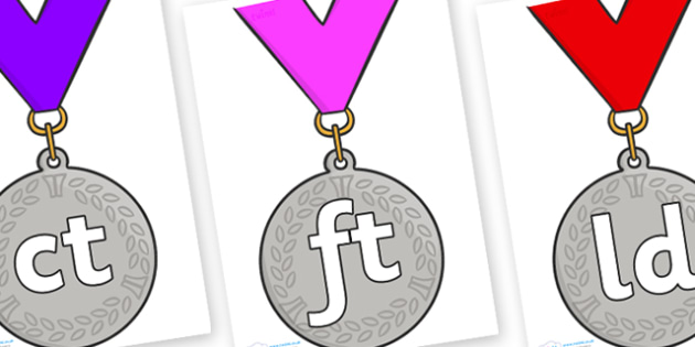 Final Letter Blends on Silver Medal - Final Letters, final letter, letter blend, letter blends, consonant, consonants, digraph, trigraph, literacy, alphabet, letters, foundation stage literacy
