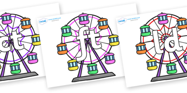 Final Letter Blends on Ferris Wheels - Final Letters, final letter, letter blend, letter blends, consonant, consonants, digraph, trigraph, literacy, alphabet, letters, foundation stage literacy