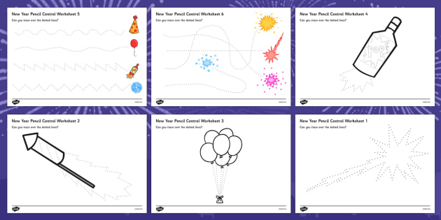 New Years Pencil Control Sheets - new years, pencil control, sheets, pencil, control