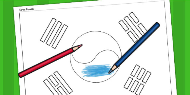 Korea Republic A4 Colouring Flag - geography, country, colour in