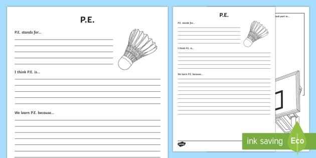 P.E. Reflection Writing Template - writing template, subject, self assessment, feelings, P.E., physical education