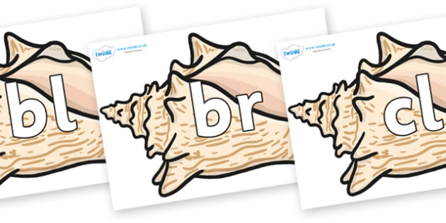Initial Letter Blends on Conch Shells - Initial Letters, initial letter, letter blend, letter blends, consonant, consonants, digraph, trigraph, literacy, alphabet, letters, foundation stage literacy