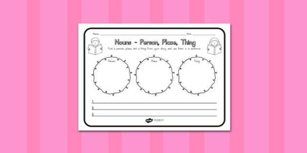 Nouns Person Place Thing Comprehension Worksheet - australia