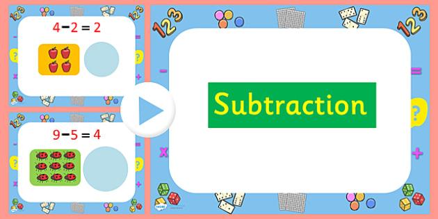 Subtraction PowerPoint - subtraction, subtraction activity powerpoint, subtraction questions powerpoint, subtracting, maths, maths powerpoint, minusing