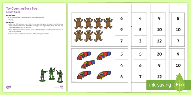 Toy Counting Busy Bag Resource Pack for Parents - Toys, peg, counting, numeral, count, number, how many, games,