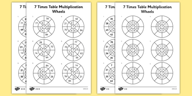 7 Times Table Multiplication Wheels Activity Sheet Pack - 7 times table, multiplication wheels, activity sheet, multiplication, wheels, worksheet