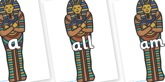 Foundation Stage 2 Keywords on Sarcophagus - FS2, CLL, keywords, Communication language and literacy,  Display, Key words, high frequency words, foundation stage literacy, DfES Letters and Sounds, Letters and Sounds, spelling