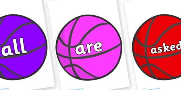 Tricky Words on Basketballs - Tricky words, DfES Letters and Sounds, Letters and sounds, display, words