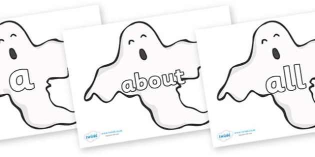 100 High Frequency Words on Ghosts (Plain) - High frequency words, hfw, DfES Letters and Sounds, Letters and Sounds, display words