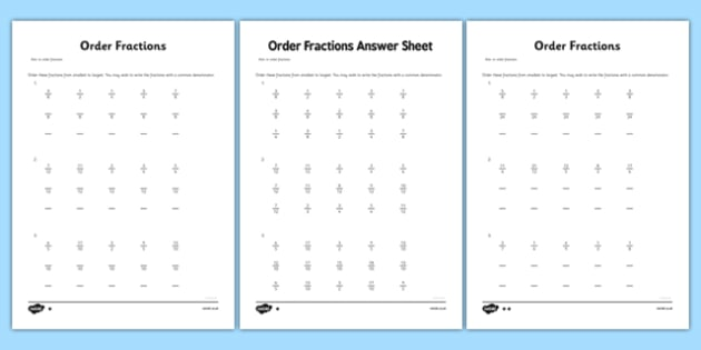 year 6 order fractions activity sheet key stage 2 ks2 maths. Black Bedroom Furniture Sets. Home Design Ideas