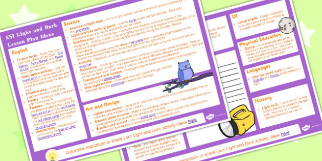 Light and Dark KS1 Lesson Plan Ideas - lesson plan, ideas, light