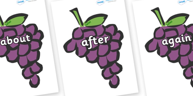 KS1 Keywords on Grapes - KS1, CLL, Communication language and literacy, Display, Key words, high frequency words, foundation stage literacy, DfES Letters and Sounds, Letters and Sounds, spelling