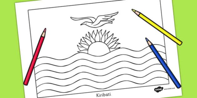 Kiribati Flag Colouring Sheet - countries, geography, colour