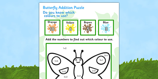 Butterfly Addition Puzzle (0-10) - Minibeast - minibeast investigation, addition, plus, maths game, math, butterfly, minibeasts, Minibeasts, Topic, Foundation stage, knowledge and understanding of the world, investigation, living things, snail, bee,