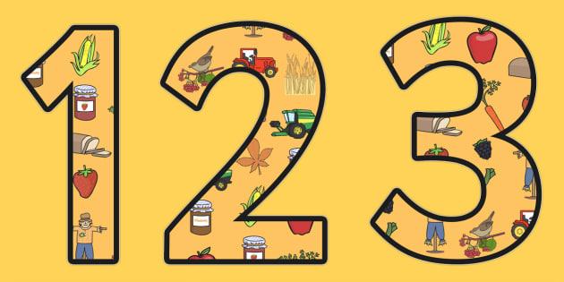 Harvest Themed Display Numbers - autumn, seasons, display, number