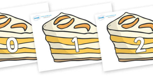 Numbers 0-31 on Peach Dessert to Support Teaching on The Lighthouse Keeper's Lunch - 0-31, foundation stage numeracy, Number recognition, Number flashcards, counting, number frieze, Display numbers, number posters