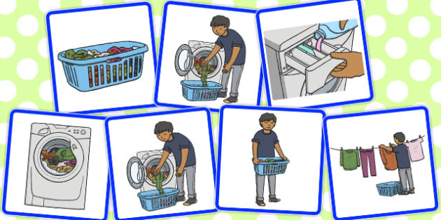 7 Step Sequencing Cards Washing Clothes - washing, clothes