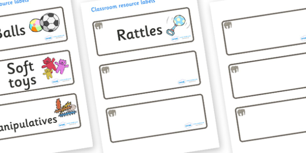 Elephant Themed Editable Additional Resource Labels - Themed Label template, Resource Label, Name Labels, Editable Labels, Drawer Labels, KS1 Labels, Foundation Labels, Foundation Stage Labels, Teaching Labels, Resource Labels, Tray Labels, Printable