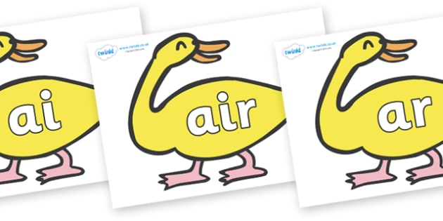 Phase 3 Phonemes on Yellow Duck to Support Teaching on Brown Bear, Brown Bear - Phonemes, phoneme, Phase 3, Phase three, Foundation, Literacy, Letters and Sounds, DfES, display