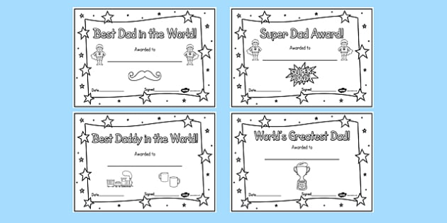 Colouring Fathers Day Certificates - awards, dad, father, reward