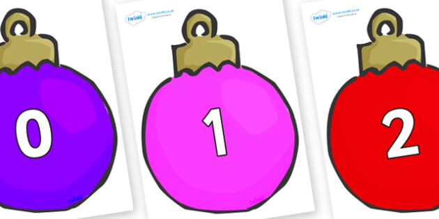Numbers 0-100 on Plain Baubles (Multicolour) - 0-100, foundation stage numeracy, Number recognition, Number flashcards, counting, number frieze, Display numbers, number posters