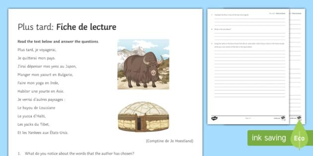 Later Reading Comprehension French Translation - Literature, litterature, lecture, reading, future, futur
