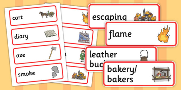 The Great Fire of London Pre-Teaching Word Cards - great fire of london, pre-teaching, word cards