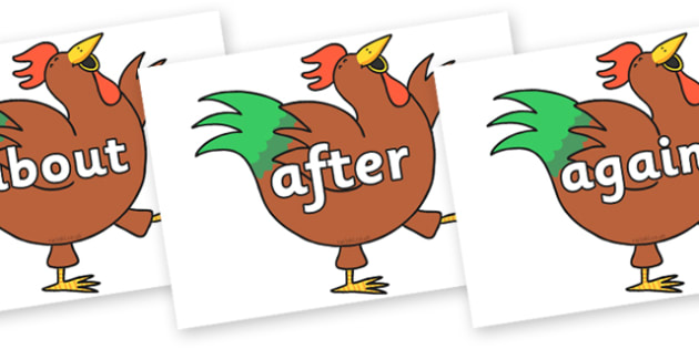 KS1 Keywords on Hullabaloo Rooster to Support Teaching on Farmyard Hullabaloo - KS1, CLL, Communication language and literacy, Display, Key words, high frequency words, foundation stage literacy, DfES Letters and Sounds, Letters and Sounds, spelling