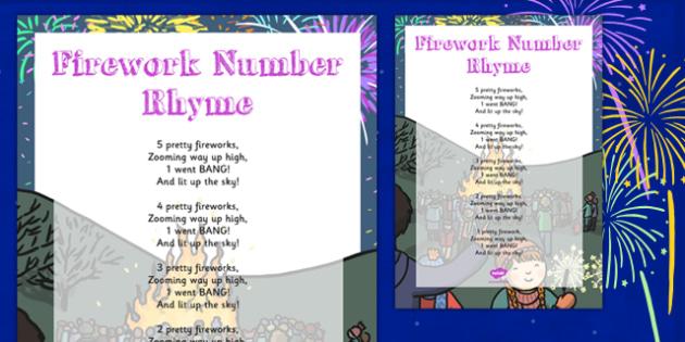 Fireworks Number Rhyme Poster - fireworks, number, rhyme, poster, display